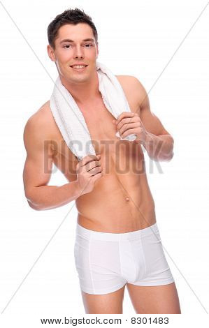 Smiling Young Man With Underwear