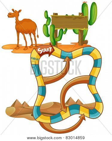 Illustration of a puzzle game with camel and cactus