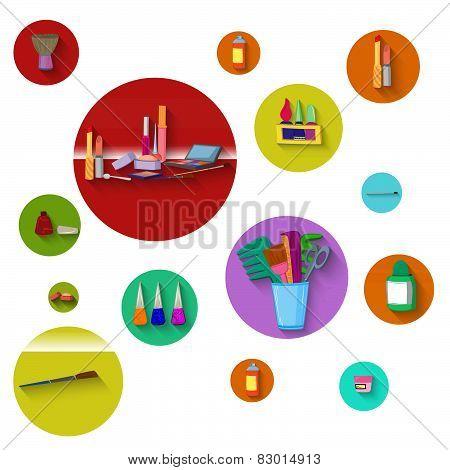 Flat Design Spa Round Icon Set