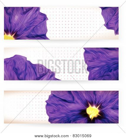 Set Of Banners With Purple Flowers And Dots