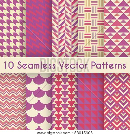Abstract retro seamless pattern set. Vector illustration