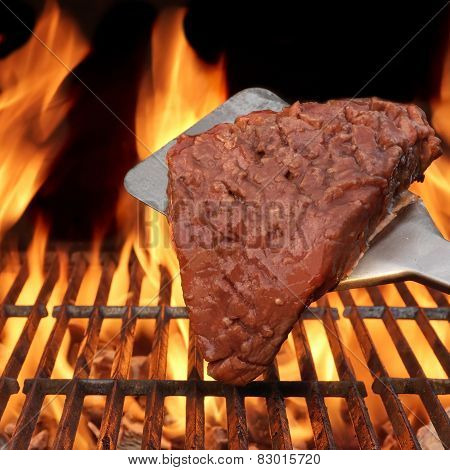 Flame Broiled Steak On The Bbq Grill