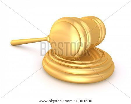 Gold 3D Rendered Hammer
