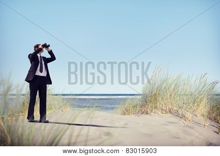 Businessman Looking Searching Opportunity Forward Vision Concept
