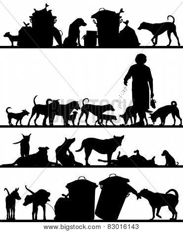 Set of illustrated foreground silhouettes of street dogs in Bangkok