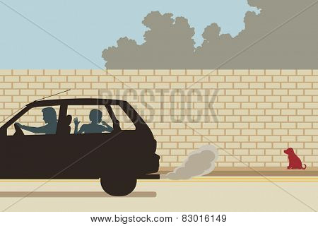 Illustration of a puppy being abandoned by a family driving away