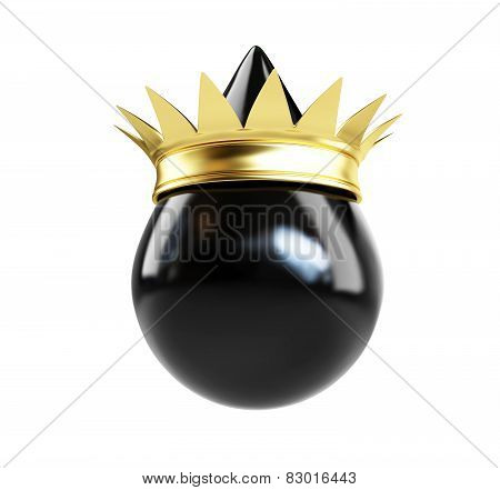 Oil Drop With A Golden Crown Crown On A White Background