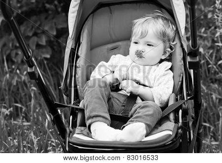 Baby Sitting In Stroller With Fun Look On Summer