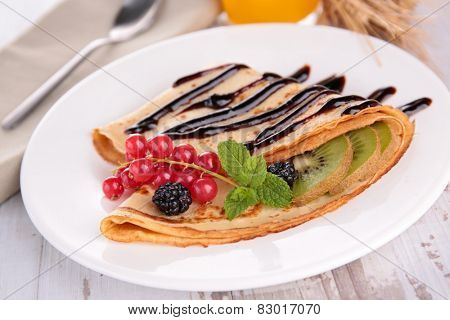 crepe with chocolate and fruits