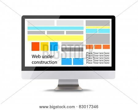 Modern computer display with icons of web construction. Front view. Isolated on white background