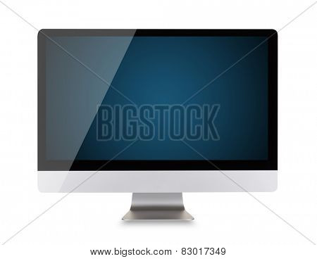 Modern computer display with blank dark blue screen, mouse and keyboard. Front view. Isolated on white background
