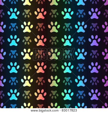 Animal seamless spectrum vector pattern of paw footprint