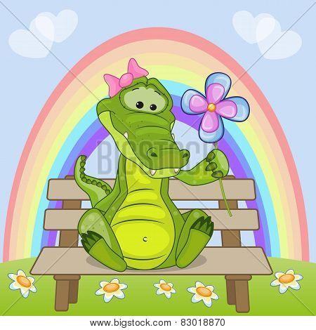 Crocodile With Flower