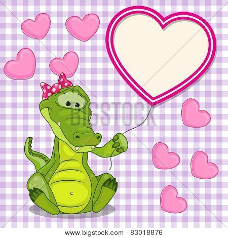 Crocodile With Heart Frame