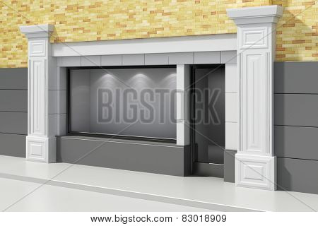 3d store shopfront with big windows