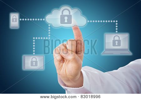 Index Finger Touching Lock Icon In Cloud Network
