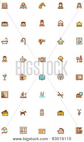 Set of the hotel services related icons
