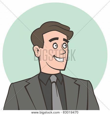 Happy smiling businessman looking away