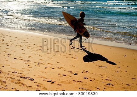 Running Surfer. Silhouette