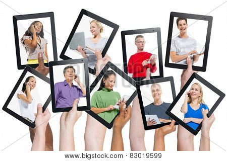 Diversity Hands Digital Devices Communication Variation Concept