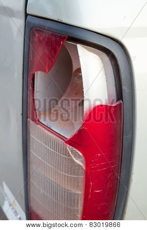 Car Tail Light Has Broken From Accident