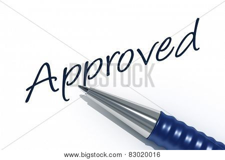 An image of a pen with the message approved