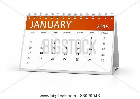 An image of a table calendar for your events January 2016