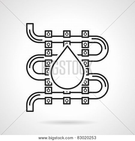 Black sketch vector icon for underfloor heating