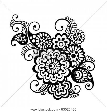 Vector set of floral pattern elements, indian ornament, henna style