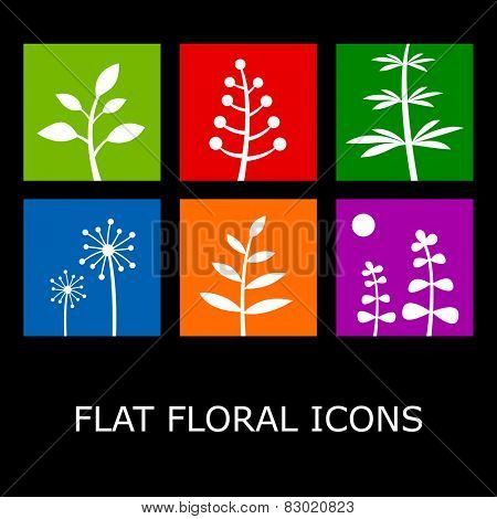 Flat floral icons isolated on black. Plant symbols in metro style