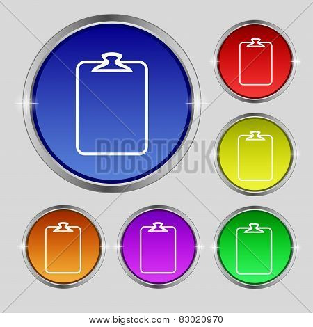 File Annex Icon. Clipboard Symbol. Attach Sign. Set Of Coloured Buttons. Vector