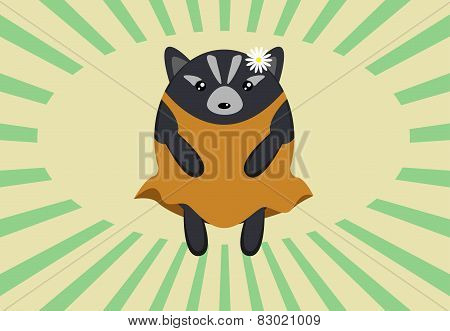 Cute roundish badger in a dress