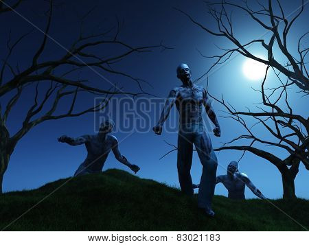 3D render of zombies coming over a hill at night