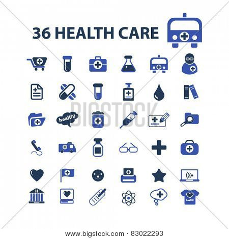 36 health care, medicine, doctor concept - flat isolated icons, signs, illustrations set, vector