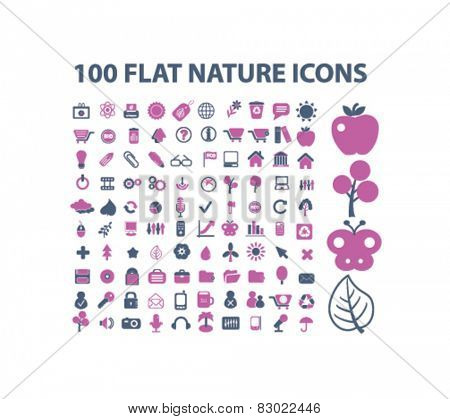 100 nature, ecology, enviroment concept - flat isolated icons, signs, illustrations set, vector