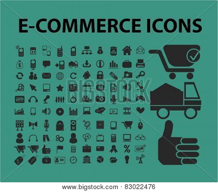 e-commerce, internet marketing, retail concept - flat isolated icons, signs, illustrations set, vector