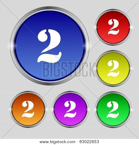 Second Place Award Sign. Winner Symbol. Step Two. Set Of Coloured Buttons. Vector
