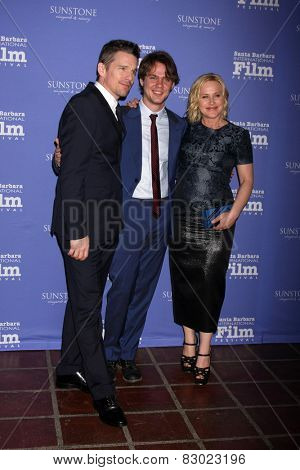 SANTA BARBARA - FEB 5:  Ethan Hawke, Ellar Coltrane, Patricia Arquette at the Santa Barbara International Film Festival - American Riviera Award on February 5, 2015 in Santa Barbara, CA