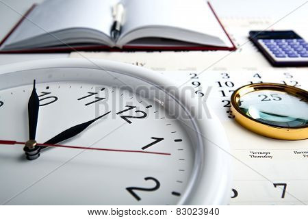 Business Stil Life With Clockface