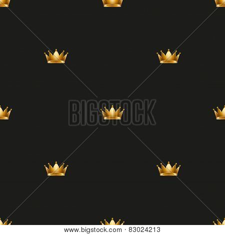 Universal vector seamless patterns tiling. Royal king crown.