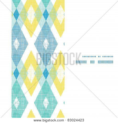 Vector colorful fabric ikat diamond vertical frame seamless pattern background