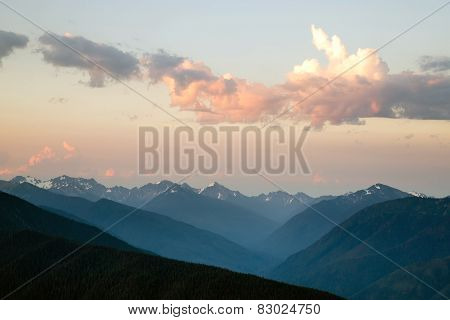 Dramatic Sky Cloudscape Over Hurricane Ridge Olympic Mountains