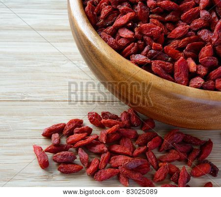 Wooden Bowl Full of Dried Goji Berries on the Table. Healthy Diet