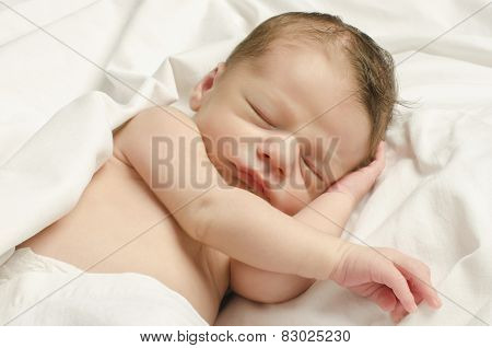 New Born Baby Boy Sleeping.