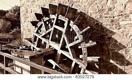 Old Wooden Watermill Wheel