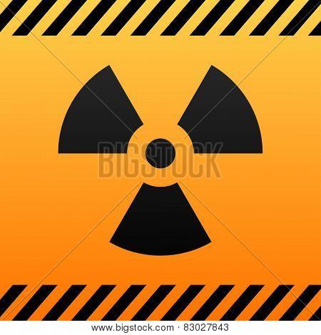 Radiation hazard black and yellow symbol.