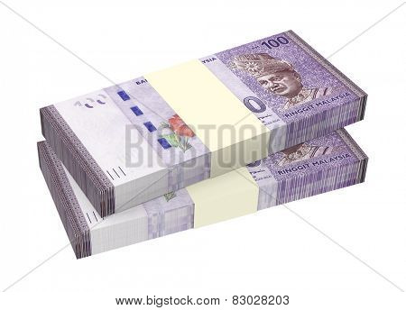 Malaysian ringgit isolated on white background. Computer generated 3D photo rendering.