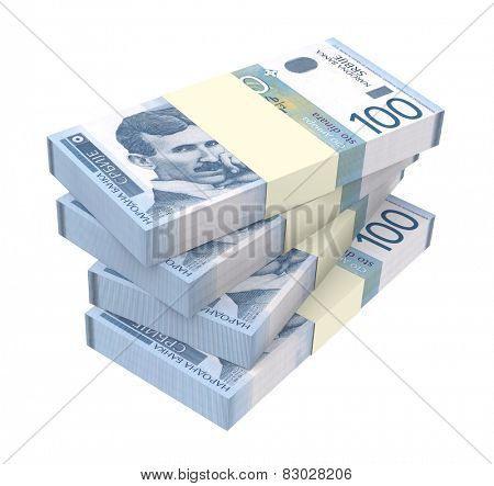 Serbian dinar isolated on white background. Computer generated 3D photo rendering.