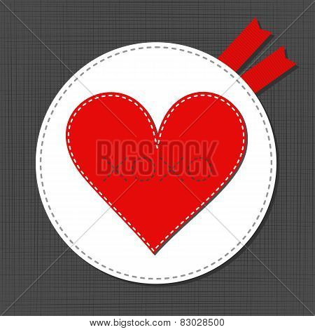 big red lonely heart lovely sewed romantic Valentines Day card on gray