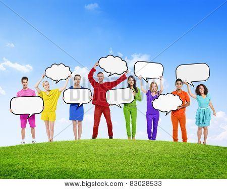 Speech Bubbles Diverse Diversity Ethnic Ethnicity Togetherness Concept
